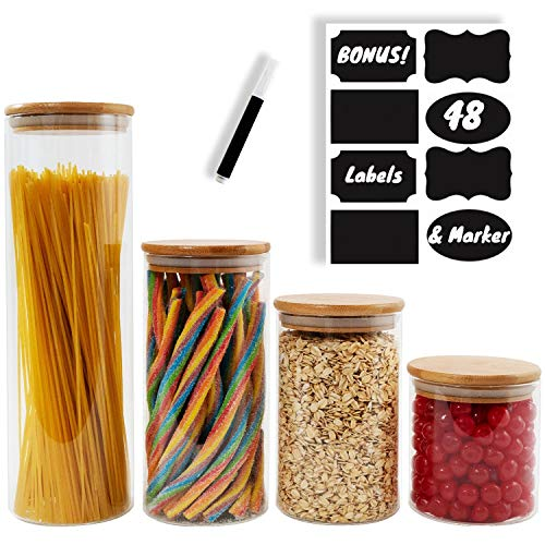BERG & MON Airtight Glass Food Storage Containers for the Kitchen Counter with Bamboo Lids + Chalkboard Labels and Marker - Set of 4 Glass Canisters - Large and Small Glass Jars for Dry Ingredients