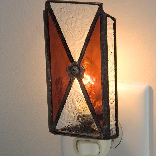 J Devlin NTL 112-2 Burgundy Stained Glass Night Light Vintage Style