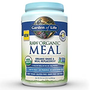 Garden of Life Organic Vegan Meal Replacement – Raw Plant Based Protein Powder, Vanilla, 34.2oz (969g) Powder
