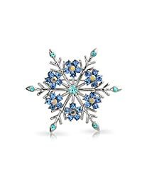 Crystal Christmas Flower Snowflake Brooch Pin Rhodium Plated