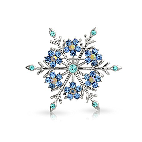 Bling Jewelry Large Winter Aqua Blue Teal Crystal Holiday Snowflake Brooch Pin for Women Silver Plated