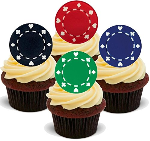 12 x Poker Chips Green Black Blue Red Mix Casino Gambling - Fun Novelty Birthday PREMIUM STAND UP Edible Wafer Card Cake Toppers Decoration