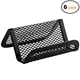 MaxGear Mesh Business Card Holder Metal Business Card Stand for Desk Office Business Card Display with 50 name Card Capacity 6 Pack Black