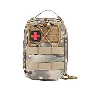 Botiquín de primeros auxilios EMT Bolsa táctica compacta MOLLE Botiquín médico 1000D para viajes en el lugar de trabajo al aire libre en el hogar (marrón)