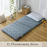 CNZXCO Student Dormitory Japanese futon Tatami mat Sleeping Mattress pad, Foldable Roll up Mattress Cover Topper Knitting Skin-Friendly-C 90x200cm(35x79inch)
