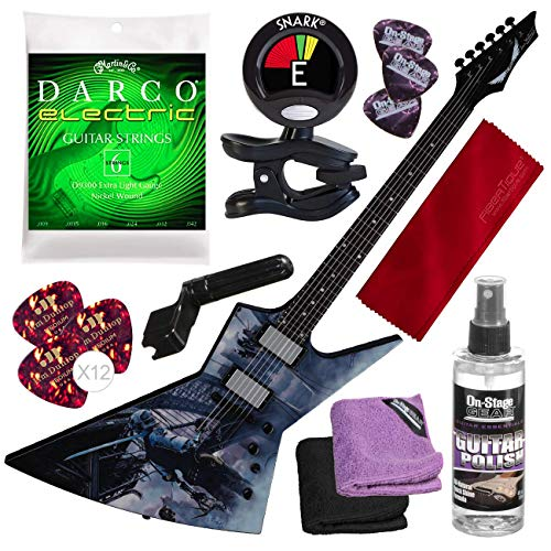 - Dean Zero Dave Mustaine Dystopia Solid-Body Electric Guitar with Clip-on Tuner and Accessory Bundle