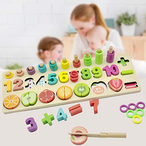- YYoomi Wooden Blocks Puzzle Board Set Early Education Toy with Cutting Fruits Pretend Food Playset for Children Girls Boys for Number Counting, Colors Stacking, Shape Sorting