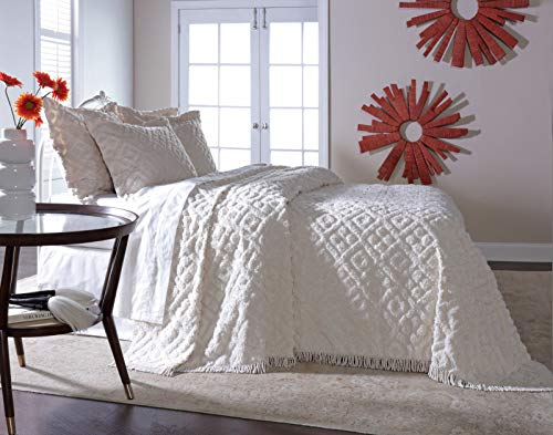 Diamond Tufted Chenille Bedspread and Pillow SHAM Set, All Cotton (White, Queen) (Bedspread Queen Chenille)