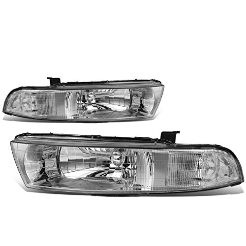 For 99-03 Mitsubishi Galant 8th Gen Pair of Chrome Housing Clear Corner Headlights ()