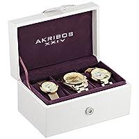 Akribos XXIV AK738YG para mujer con pantalla analógica, reloj de cuarzo suizo, oro