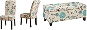 Christopher Knight Home Pertica Fabric Dining Chairs, 2-Pcs Set, White and Blue Floral & Breanna Fabric Storage Ottoman, White and Blue Floral