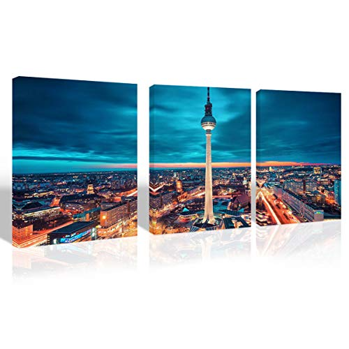 Mon Art-Berlin City Skyline Canvas Print Wall Art Mitte TV Tower Nightscape Picture for Office Bedroom Living Room Decoration Modern Contemporary Artwork Home Decor 16
