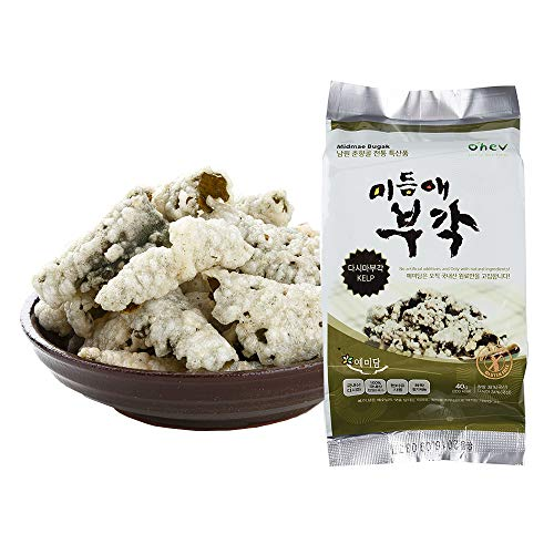 Antique Rice - Seaweed Sweet Rice Crisps Kelp Flavor Crunch Bites Korean Snack 1.41 Ounce (Pack of 8) Non-GMO Gluten Free 0g Sugar