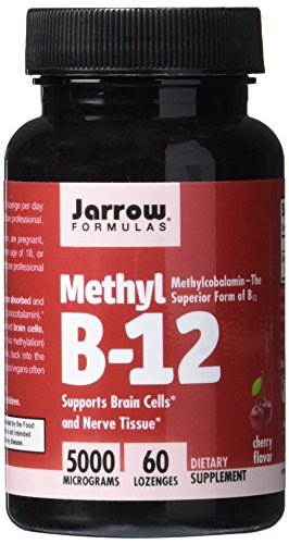 Jarrow Formulas Methylcobalamin (Methyl B12), Supports Brain Cells, 5000 mcg, 60 Lozenges - Jarrow B-12 Vitamins