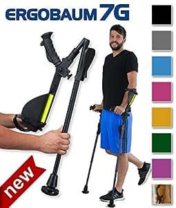 Ergobaum® 7TH Generation Prime By Ergoactives. 1 Pair (2 Units) of Ergonomic Forearm Crutches - Adult 5' - 6'6'' Adjustable (Original Black)