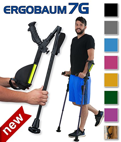Ergobaum® Prime By Ergoactives. 1 Pair (2 Units) of Ergonomic Forearm Crutches - Adult 5' - 6'6'' Adjustable. by Ergoactives