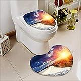 L-QN 2 Piece Toilet Toilet Mat Sunshine Clouds Nature Mountain Valley Sun Divider in College Landscape Home White Non-Slip Soft Absorbent Bath