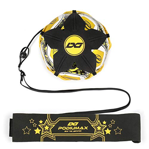 PodiuMax Hands-Free Soccer Kick/Throw Trainer, New Ball Locked Net Design, Adjustable Waist Belt & Cord Suit for All Levels (Fits Ball Size 3, 4, 5) (Yellow-Flower Pattern)]()