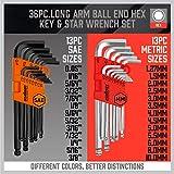 HORUSDY Allen Wrench Set, Hex Key Set Long Arm Ball