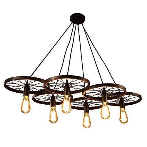 Windsor Home Deco, WH-61037, Pendant Lighting, Retro Rustic Industrial Pendant Lamp, 6 Lights Chandelier for Living Room, Classic Pendant Lamp with Edison Bulb, Wheel Pendant Lamp, Iron