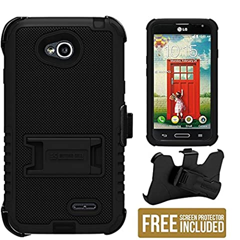 Beyond Cell Tri ShieldLG Optimus L70/LG D325/LG Realm LS620/LG MS323/LG Ultimate 2 L41C (T-mobile,Metro PCS,Boost Mobile,Cricket)3 in 1 Rugged High Impact Hybrid Anti-Shock Pads Hard + Soft Durable Phone Case With 3 Layer Premium Protection with built in kickstand & Belt Clip Holster Combo- Black/Black - 1 pack + FREE Screen (Lg L70 Optimus Black Cases)