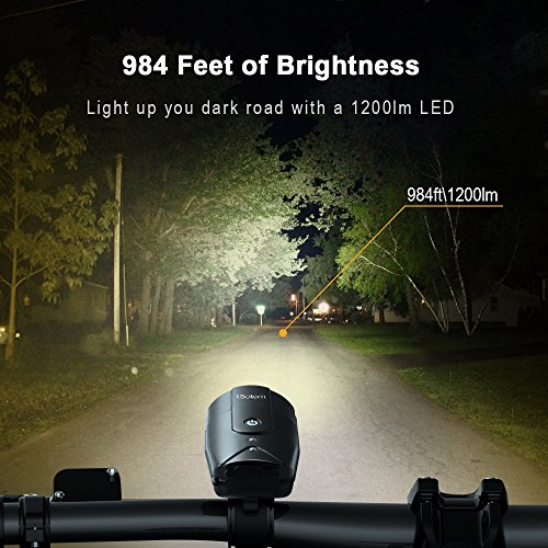 iSolem Rechargeable LED Bike Light Set, 3-Mode Bicycle Headlight and Taillight Combinations, IP65 Waterproof Front and Rear Cycling safety Flashlight - Easy to Install for Kids and Adults by iSolem (Image #1)