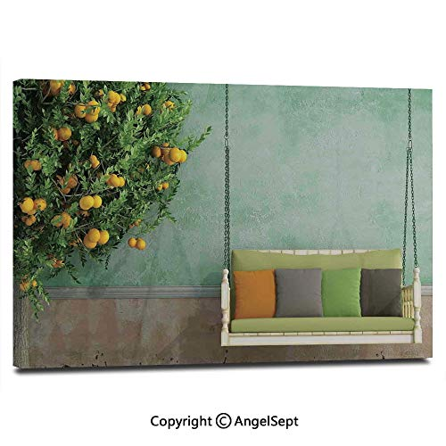 Baseball Peel Lemon (Wall Art Decor High Definition Vintage Wooden Swing in The Garden of an Old House with a Lemon Tree Summertime Painting Home Decoration Living Room Bedroom Background,16