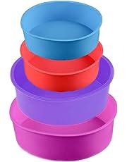 Moldes de silicona para tartas, 4 unidades, redondos, para tartas, 4 pulgadas