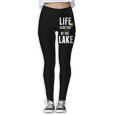DDCYOGA Life Is Better At The Lake Women's Stretch Boot Leg Yoga Pants Bike Running Yoga Pants For Girls