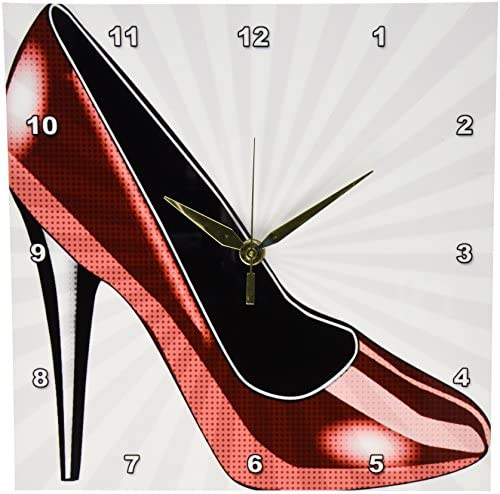 3dRose dpp_54489_1 Dotted Red High Heel Fashion Shoes Art Wall Clock, 10 by 10-Inch