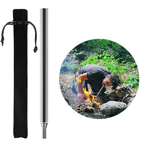 Dulcii 10mm Pocket Bellows Stainless Steel Telescopic Mouth Blow Pipe Tube Tool Builds Fire, Outdoor Gear Hunting Fishing Camping Campfire (2 Packs) by Dulcii