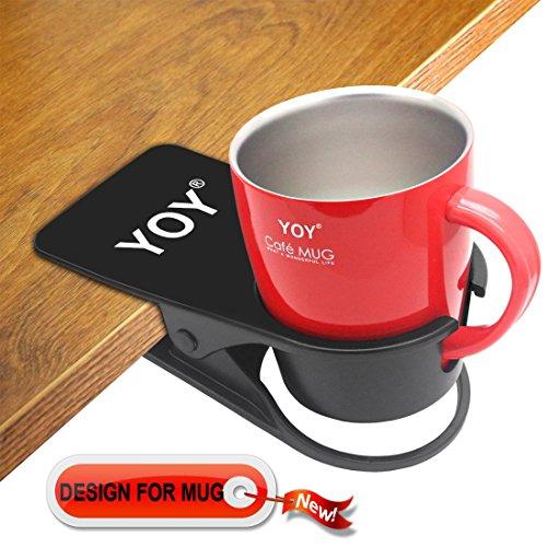 YOY Drink Cup Holder Clip - Table Desk Side Water Glass Beer Bottle Beverage Soda Coffee Mug Holder Cup Saucer Clip Design for Home Office, Black