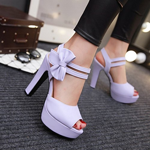 Easemax Femmes Mode Bowknot Peep Toe Talon Haut Plate-forme Crochet-et-boucle Cheville Sangle Sandales Violet