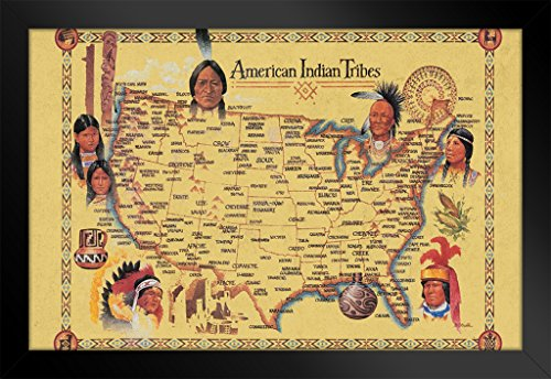 Black American League Frame - American Indian Tribes at Time of Columbus Arrival Map Framed Poster 20x14 inch
