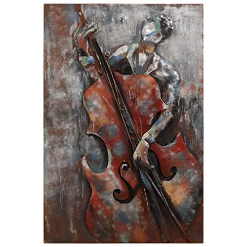 Empire Art Direct The The Bassist 3D Metal Wall Art Hand Painted Music Theme Living Room Decorations, 48