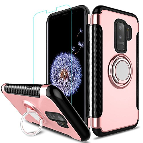 Galaxy S9 Plus Case, ZHFLY [ Heavy Duty ] Armor Hybrid Case with 360 Rotation Ring Holder Magnetic Kickstand with Tempered Glass for Samsung Galaxy S9 Plus, Rose Gold