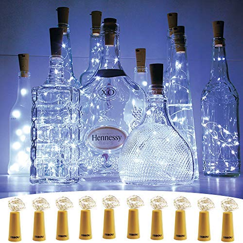SEEOU 20 LED Wine Bottle Lights with Cork 10 Pack 33ft/1m Craft Cork Copper Wire Starry Fairy Lights Battery Operated String Lights for DIY Events Party Wedding Christmas Halloween Cool White