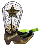 Decorative Cowboy Sheriff's Boot Liquor Wine Bottle Holder Display Stand, Home Bar & Kitchen Counter Wine Rack Statue & Texas Star for Country Western Décor, Cork Cage Metal Bottle & Cork Holder Boot