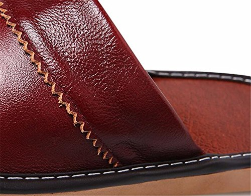 Women Floor TELLW Summer Smelly for Men Anti Leather Wooden Autumn Cowhide Corium Slippers Spring zCOqz