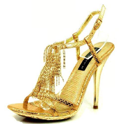 Womens Platform High Heel Ankle Fringe T-Strap Open Peep Toe Dress Evening High Heel Fashion Shoes Gold nVQehTO3