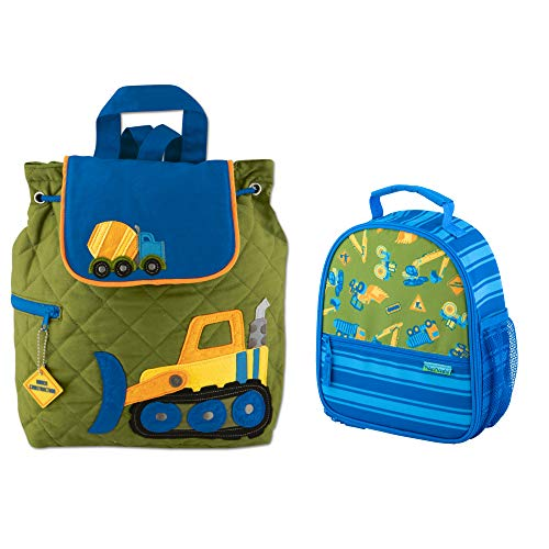 Stephen Joseph Boys Quilted Construction Backpack and Lunch Box with Activity Pad ()