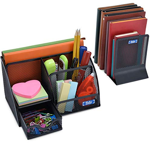 Mesh Desk Organizer with Bookends for Shelves 3 Piece Set 6 Compartments, Sliding Drawer Tray Home/Office, Dorm, Work Organization Accessories Desktop and Book Storage Black