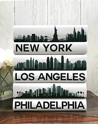 City Skyline Decorative Books, Custom City Coffee Table Books, NY, Los Angeles, Chicago, Housewarming Wedding Gift, Booklover Home Decor