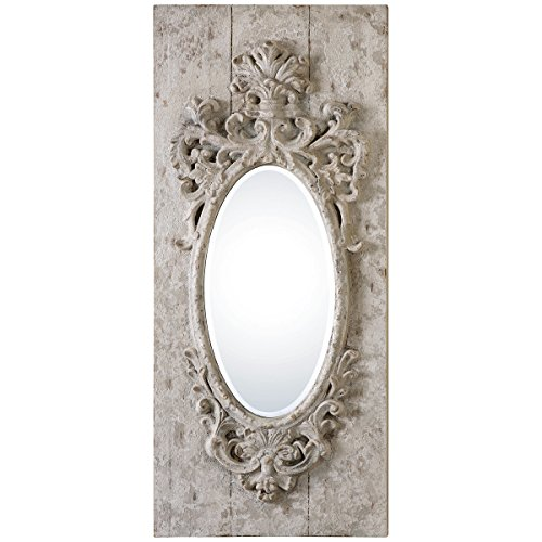 Uttermost 13927 Guardia Oval Mirror, Gray Ivory
