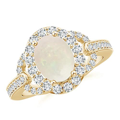 Vintage Style Oval Opal Halo Ring in 14K Yellow Gold (9x7mm Opal) ()