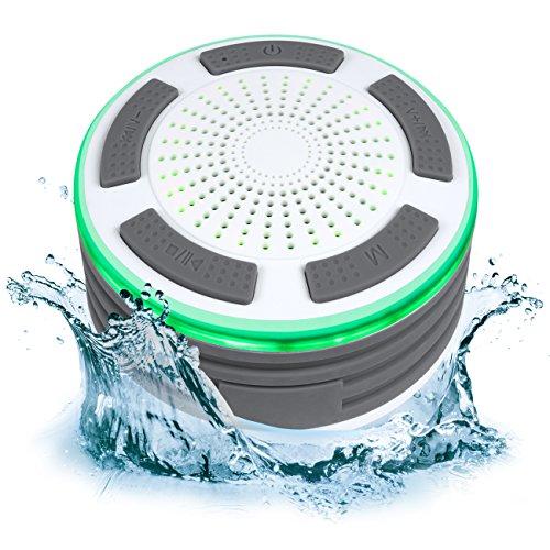 Built In Shower (Portable IP67 Waterproof Wireless Bluetooth Speaker Shower FM Radio Built-In Speakerphone LED Lights (White/Gray))