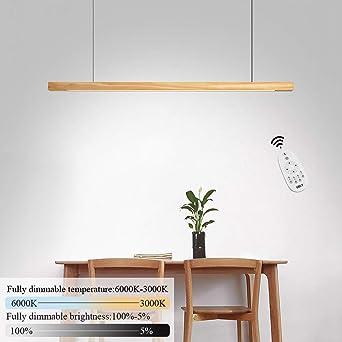 Led Pendentif Lampe 23w Blanc Chaud Suspension Bois Lampe