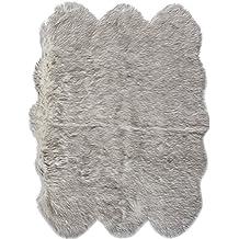 "eCarpetGallery Handmade Le Royale 4'6"" x 5'9"" Acrylic Faux Fur Rug, Grey Tip"