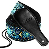 Guitar Strap Jacquard Weave Hootenanny Style & Genuine Leather Ends- Woven Braided Adjustable Strap (HJGS-0A)