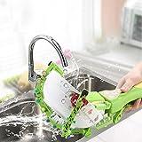 Makaor Handheld Automatic Dish Scrubber Brush Antibacterial Kitchen Dishwasher Brush Kitchen Cleaning Tool Automatic Dish Scrubber Brush (Green, Size:41.8cm x 11.5cm x 7cm)